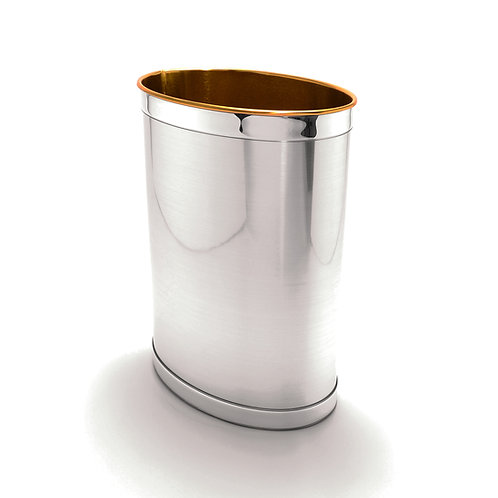 Brushed Silver w Silver Band 13 Quart Waste Basket