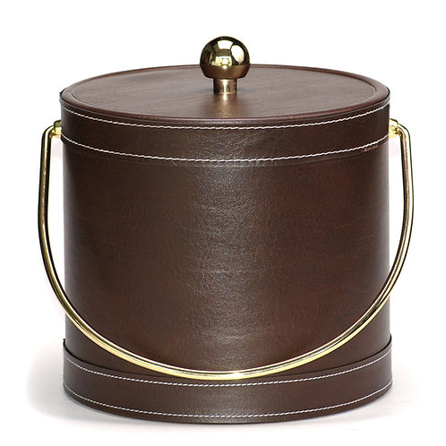 Brown Leatherette Stitched 3 QT. Ice Bucke