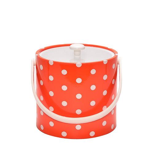 Orange With White Polka Dots 3 qt. Ice Bucket