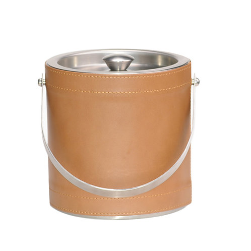 Tan Saba Leatherette Stitched 3 QT. Ice Bucket