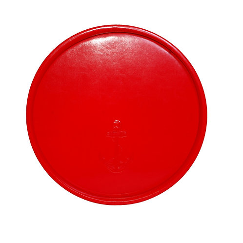 Red Castilian Debossed Anchor Round Tray