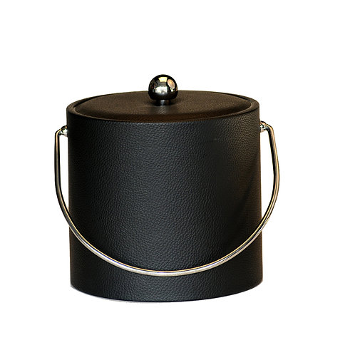 Black Ostrich Leatherette 3 qt. Ice Bucket