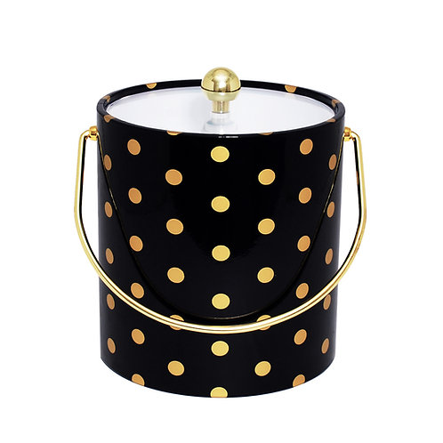 Black With Gold Polka Dots 3 qt. Ice Bucket