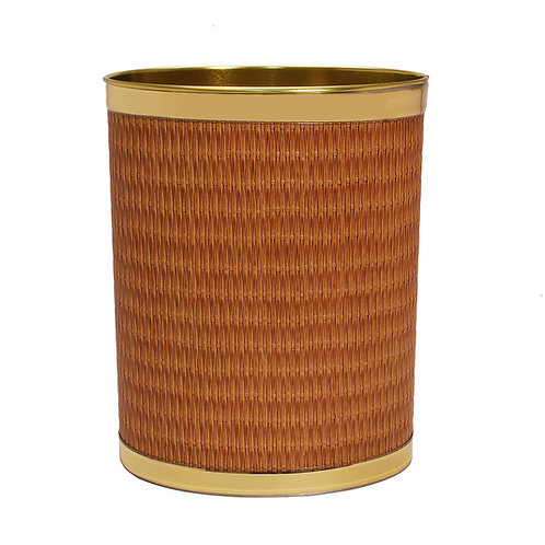 Maldives Wicker w Gold Band 13 Quart Waste Basket
