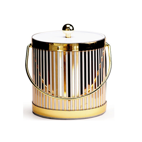 White 1/4 Gold Vertical 3 qt. Ice Bucket