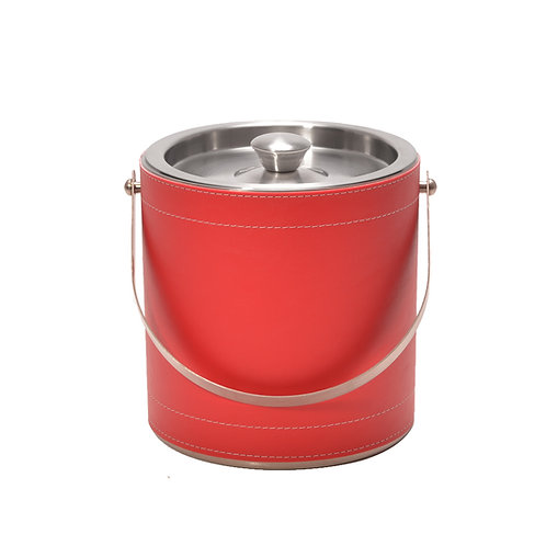 Red Leatherette Stitched 3 QT. Ice Bucket