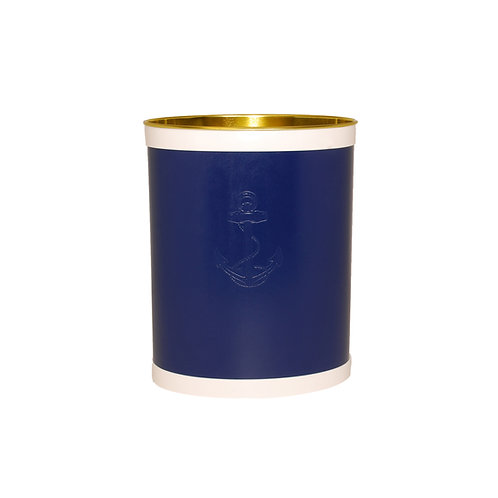 Blue Castilian Debossed Anchor Waste Basket