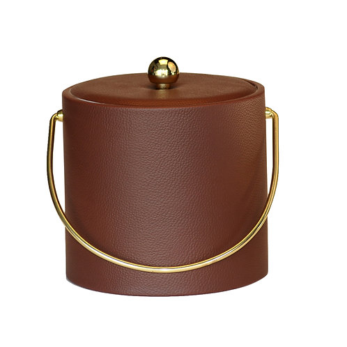 Brown Ostrich Leatherette 3 qt. Ice Bucket