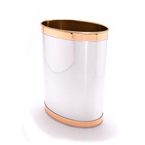 Brushed Silver w Gold Band 13 Quart Waste Basket