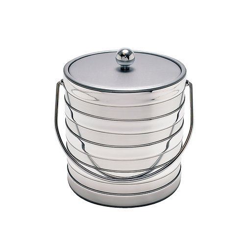 Brushed Silver Barrel  3 qt. Ice Bucket