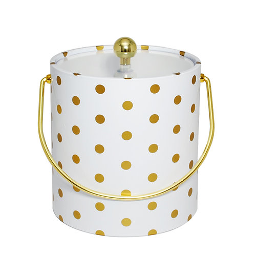White With Gold Polka Dots 3 qt. Ice Bucket