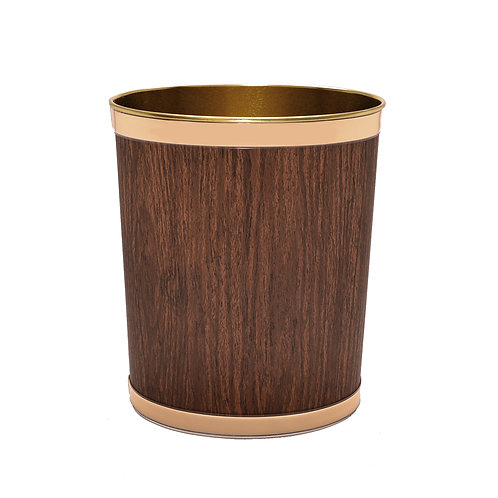 Wallnut Wood Grain 13 Quart Waste Basket