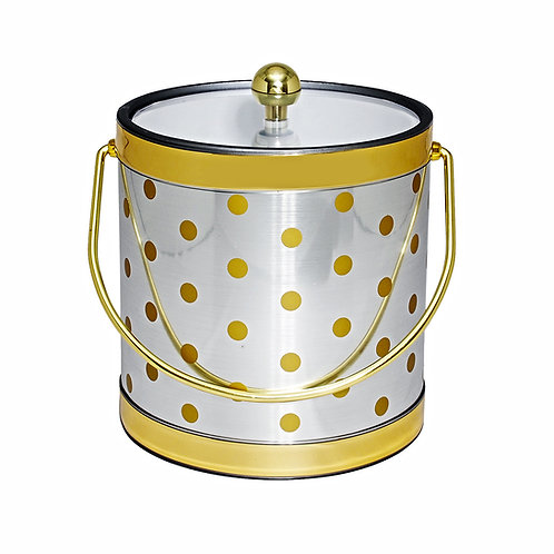 Silver With Gold Polka Dots 3 qt. Ice Bucket