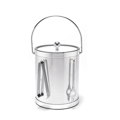 Brushed Silver 5 qt. Ice Bucket With Bar Tools
