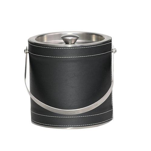 Black  Leatherette Stitched 3 QT. Ice Bucket