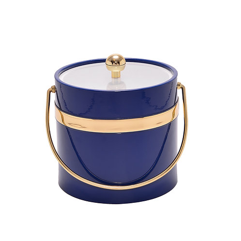 Blue Patten w Single Gold Band 3 qt. Ice Bucket