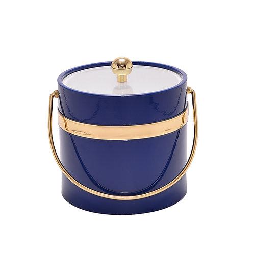 Blue Patten w Single Gold Band 3 qt. Ice Bucket
