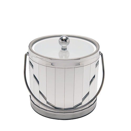 One Inch Silver Vertical Shiny 3 qt. Ice Bucket