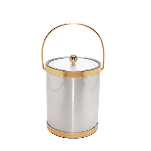 Brushed Silver w Gold Bands 5 qt. Ice Bucket