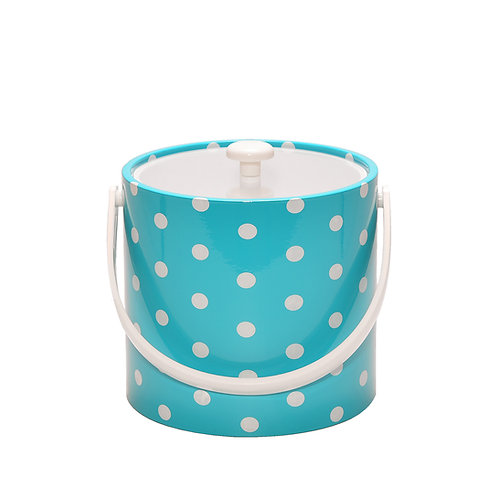 Turquoise With White Polka Dots 3 qt. Ice Bucket