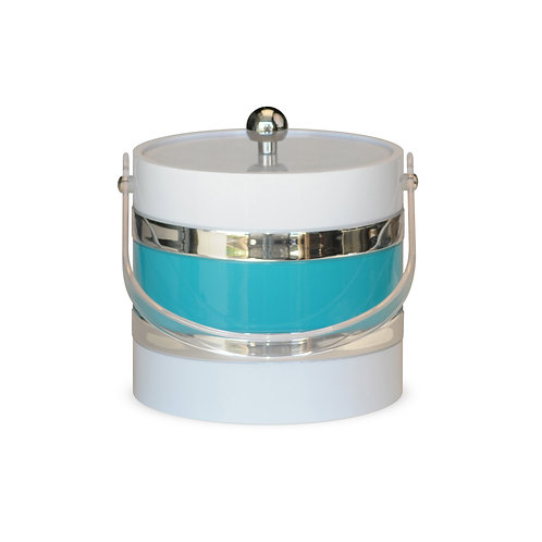 White With Turquoise Center 3 qt. Ice Bucket