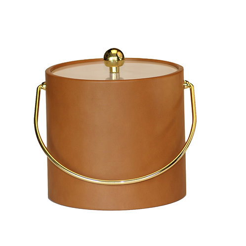 Tan Saba Leatherette 3 qt. Ice Bucket