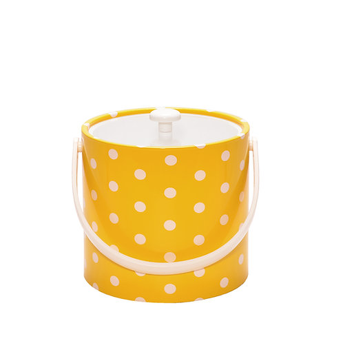 Yellow With White Polka Dots 3 qt. Ice Bucket