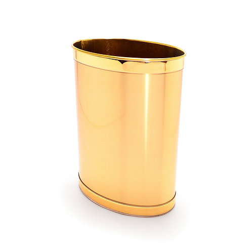 Brushed Gold w Gold Band 13 Quart Waste Basket