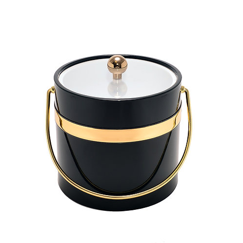 Black Patten w Single Gold Band 3 qt. Ice Bucket