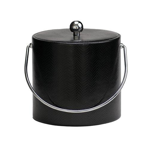Black Snake Skin Leatherette 3 Quart Ice Bucket