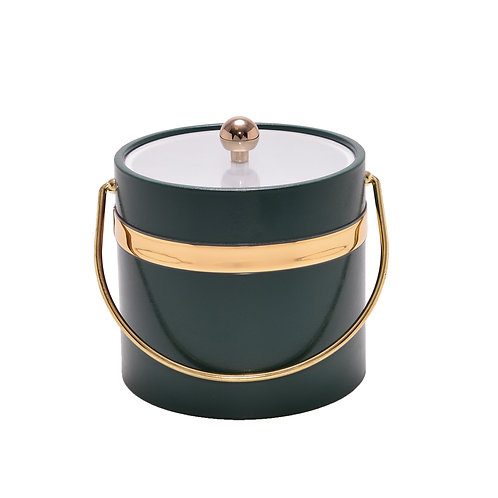 Dark Green Single Gold Band 3 qt. Ice Bucket