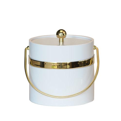 White Patten w Single Gold Band 3 qt. Ice Bucket