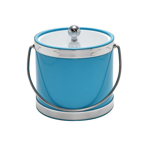 Turquoise with Dual Silver Bands 3 qt. Ice Bucket