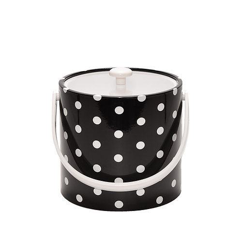 Black With White Polka Dots 3 qt. Ice Bucket