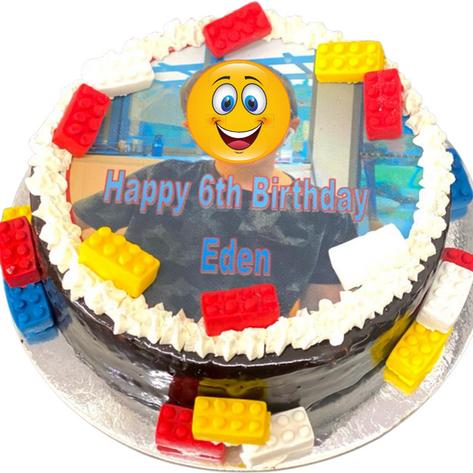 happy birthday lego themed cake