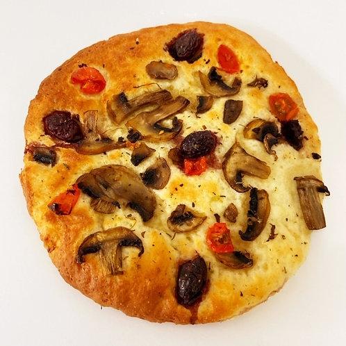 tomato, olive and mushroom focaccia - large
