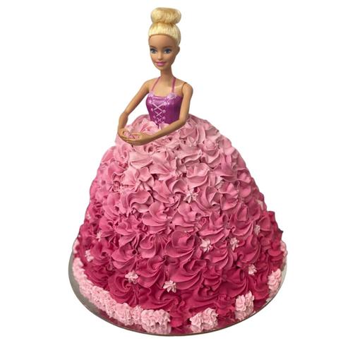 pink barbie doll cake