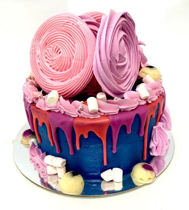 blue mirengue birthday cake