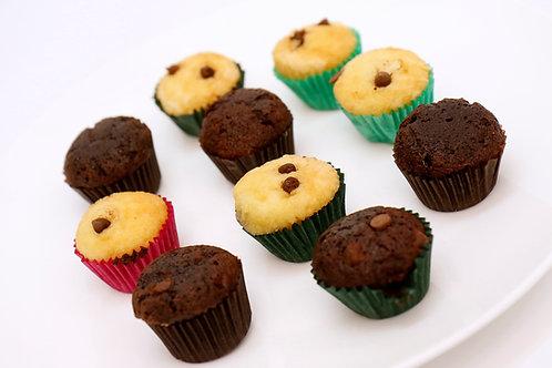 mini chocolate and choc chip muffins