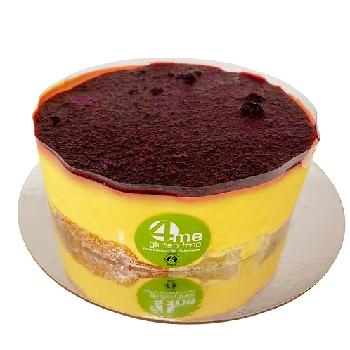 mango mousse with a mixed berry coulis