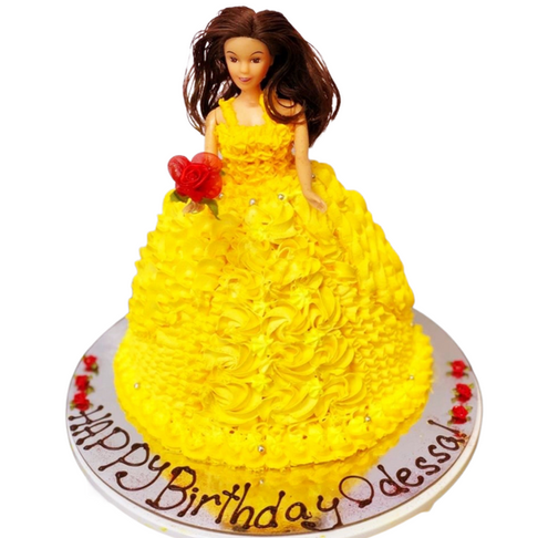 yellow doll themed cake