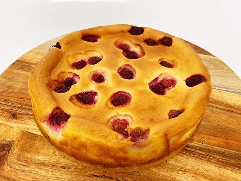 New York raspberry and white chocolate baked cheese cake