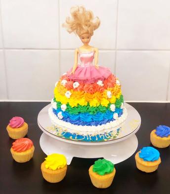 rainbow barbie birthday cake