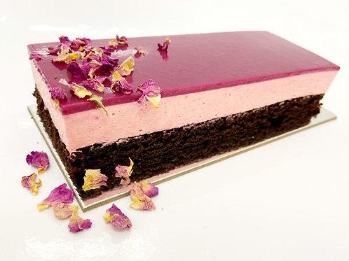 strawberry mousse, chocolate sponge with a wild berry glaze