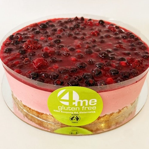 raspberry mousse cake with a mixed berry coulis 7 inch
