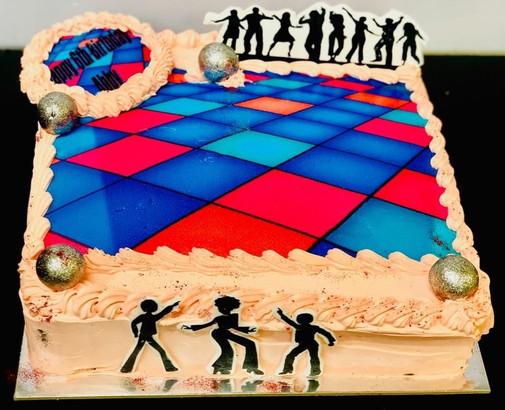 4me gluten free disco themed birthday cake