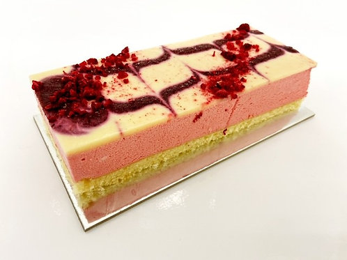 raspberry mousse with a mixed berry and lime marble glaze