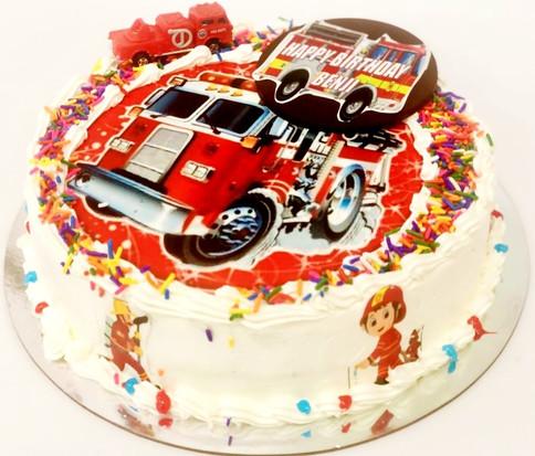 fire truck themed birthday cake