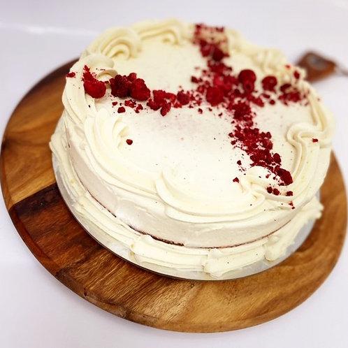 Raspberry red velvet with vanilla cream