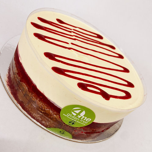 white chocolate mousse cake with a raspberry coulis & vanilla sponge 8 inch